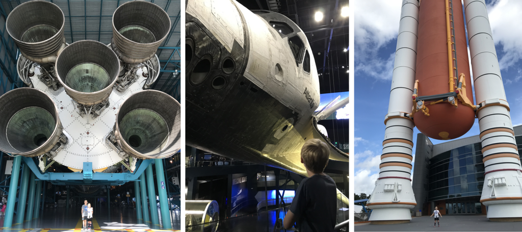 Larger than Life Exhibits at Kennedy Space Center with Kids in Orlando Florida